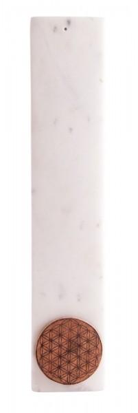 Räuchertsäbchenhalter, weißer Marmor mit der Blume des Lebens