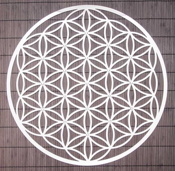 Blume des Lebens aus Edelstahl mit Kristallen, 44 cm