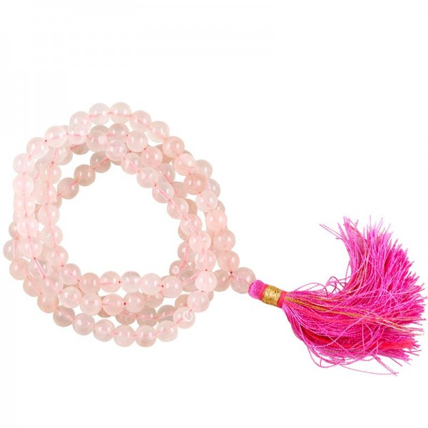 Mala Rosenquarz AA-Qualität 108 Perlen + Tasche, 0,6 cm