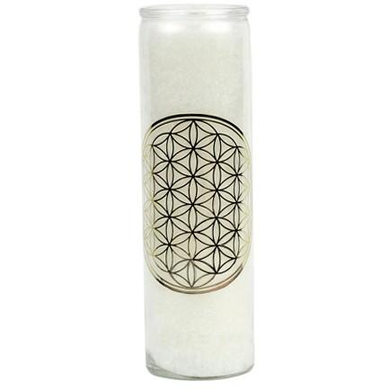 """Duftkerze """"Blume des Lebens """" Weiß mit Gold im Glas"""