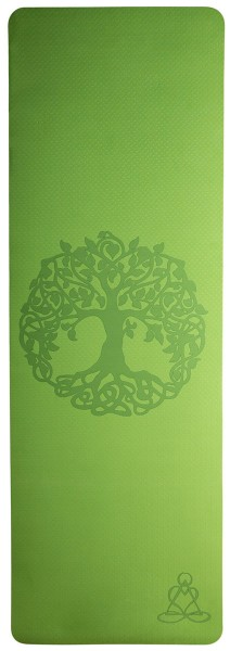 Yogamatte mit Baum des Lebens - hellgrün / grau