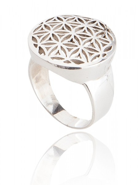 Ring Blume des Lebens in Silber