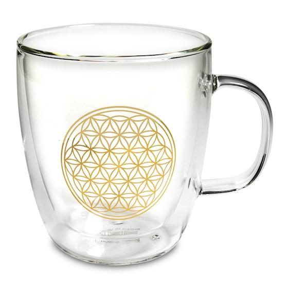 Teeglas doppelwandig Blume des Lebens