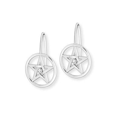 """Ohrhänger """"Pentagramm"""" - mit einem Zirkonia"""
