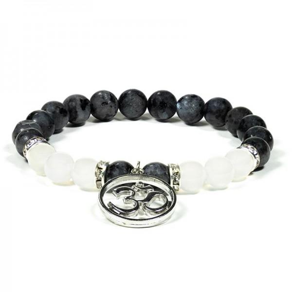 Armband Labradorit/weißer Achat mit Ohm