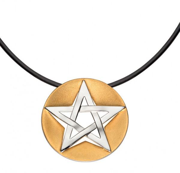 Pentagramm - Anhänger - teilvergoldet