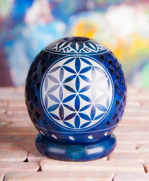Kugelteelicht mit Blume des Lebens, Blau