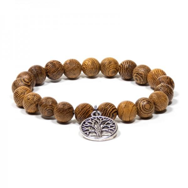 Armband Wengeholz elastisch mit Lebensbaum