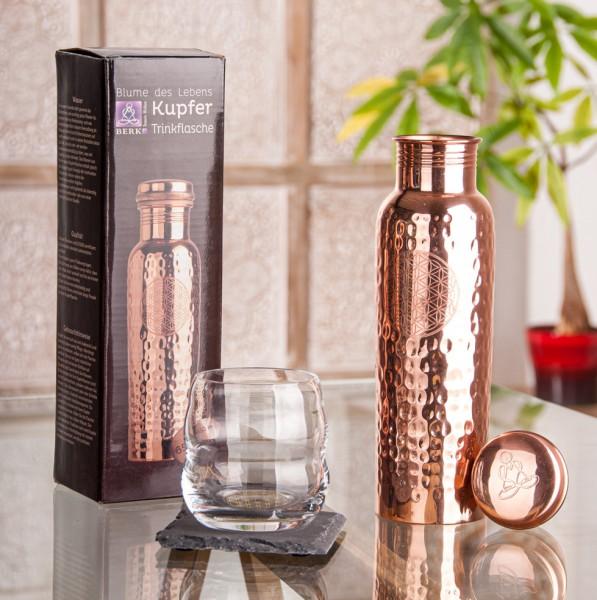Trinkflasche aus Kupfer, mit der Blume des Lebens, 650ml