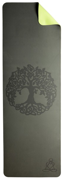 Yogamatte mit Baum des Lebens - dunkelgrün/ hellgrün