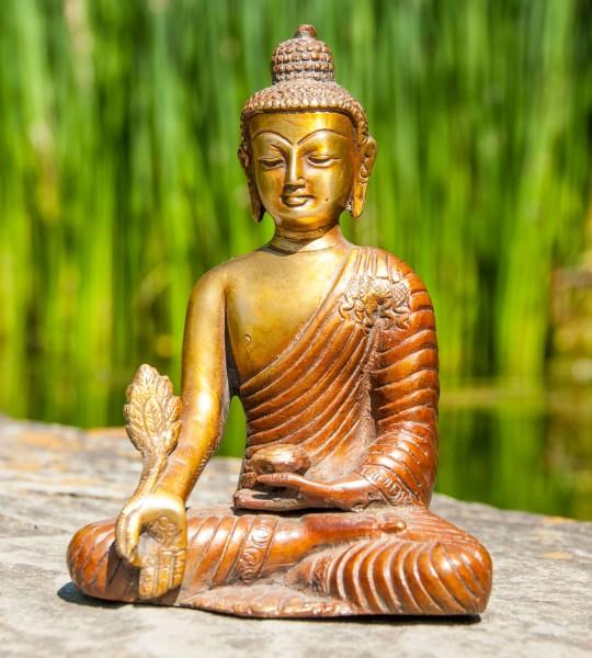 Medizinbuddha, 16 cm Messing