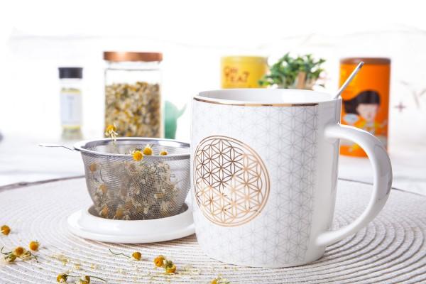 Teetasse Blume des Lebens - Set mit Sieb