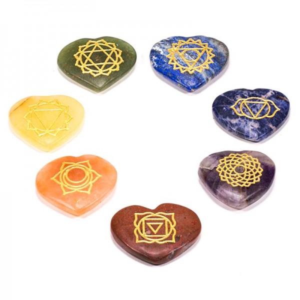 Edelstein SET mit 7 Chakra Symbolsteinen (Herz)