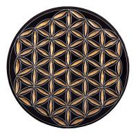 Räucherstäbchenhalter Blume des Lebens schwarz-gold