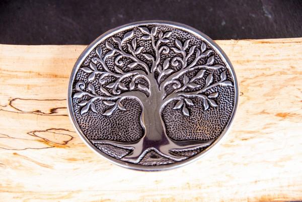 Räucherstäbchenhalter Lebensbaum rund aus Weißmetall