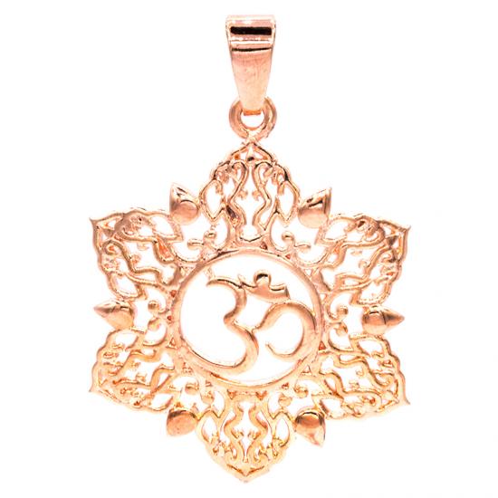 Anhänger Ohm Lotus rosa-goldfarbig