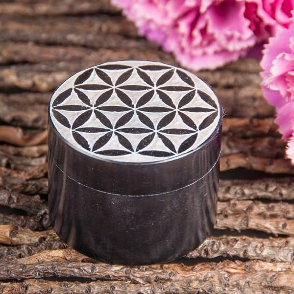Blume des Lebens Döschen, schwarz Speckstein