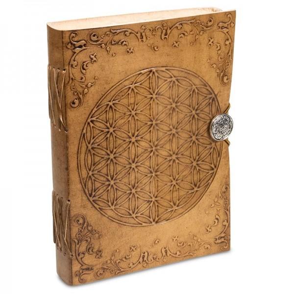 Notizbuch Blume des Lebens mit Ledereinband