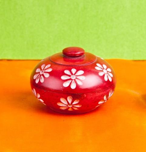 Blumendöschen für Räucherstäbchen, rot