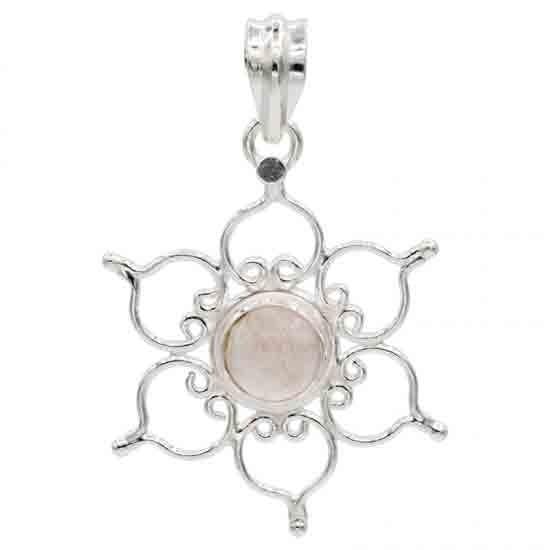 Anhänger Lotus 925er Silber mit Rosenquarz