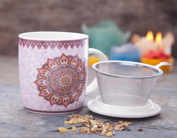 Teetasse mit Sieb, Mandala lila