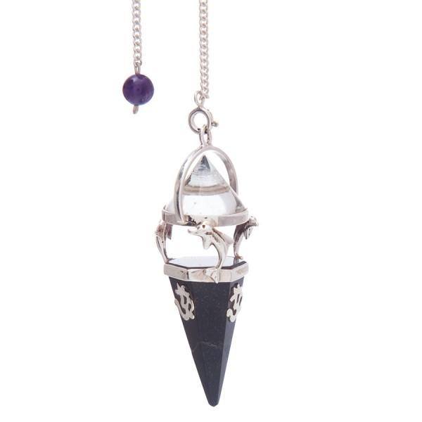Turmalin-Pendel mit Bergkristalkugel