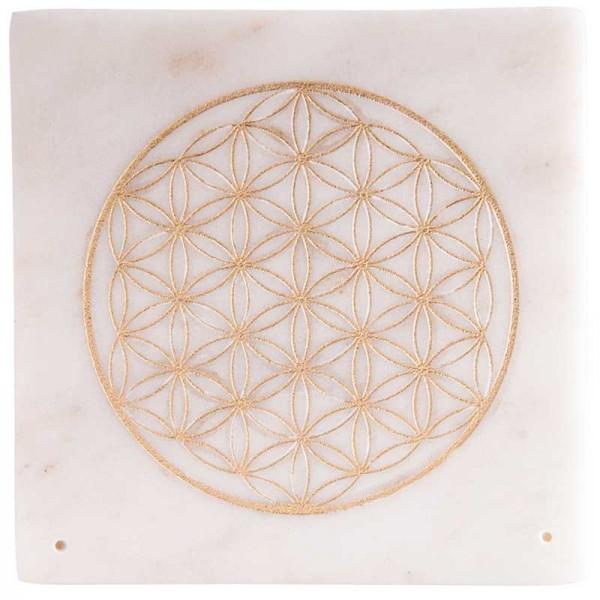 Räucherstäbchenhalter aus Marmor mit goldener Blume des Lebens