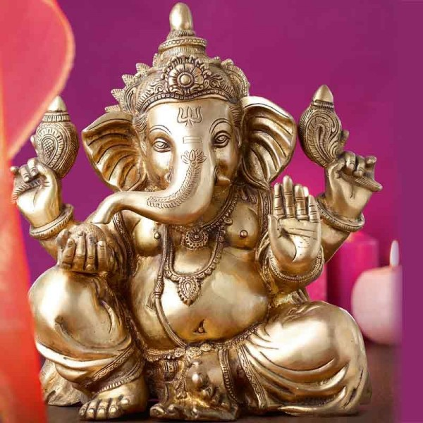 Ganesha Statue aus Messing