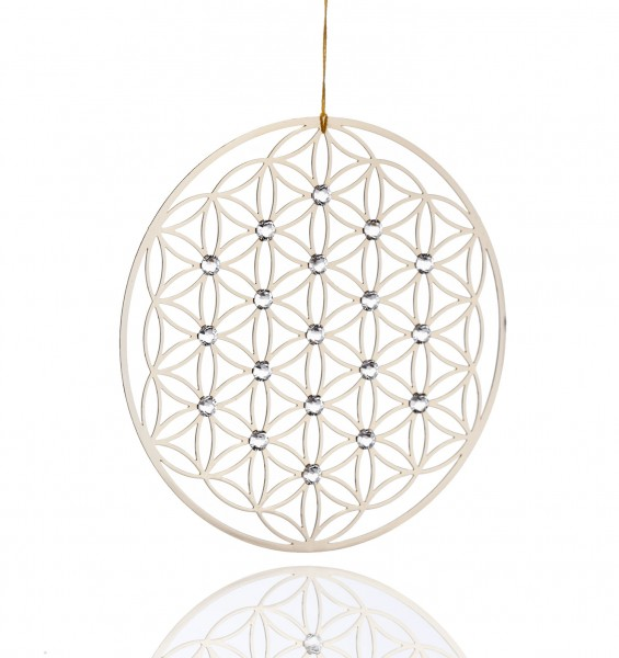 """Fenstermotiv """"Blume des Lebens"""" - Edelstahl mit Swarovski-Kristallen"""