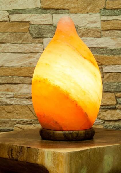 Salz-Tropfen Lampe mit Holzsockel