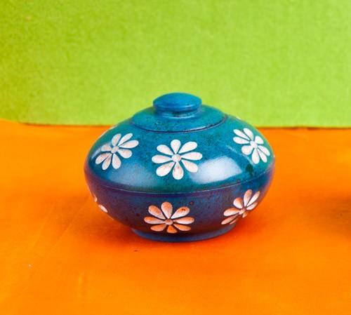 Blumendöschen für Räucherstäbchen, blau