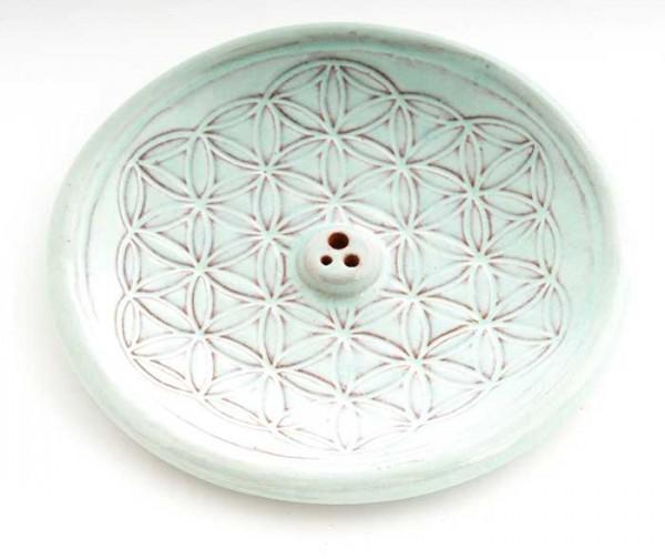 Blume des Lebens Türkis - Räucherhalter aus Keramik