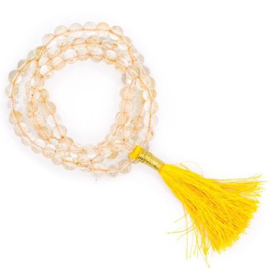 Mala Citrin AA-Qualität 108 Perlen + Täschchen