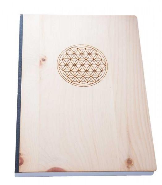 Zirbenholz Notizbuch Blume des Lebens