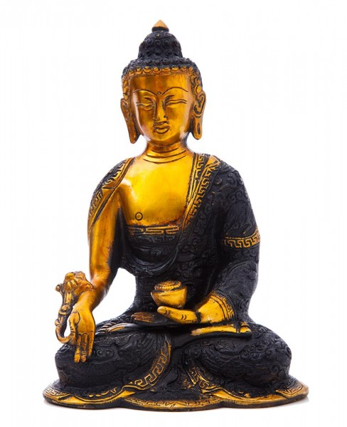 Medizin-Buddha, schwarz-gold
