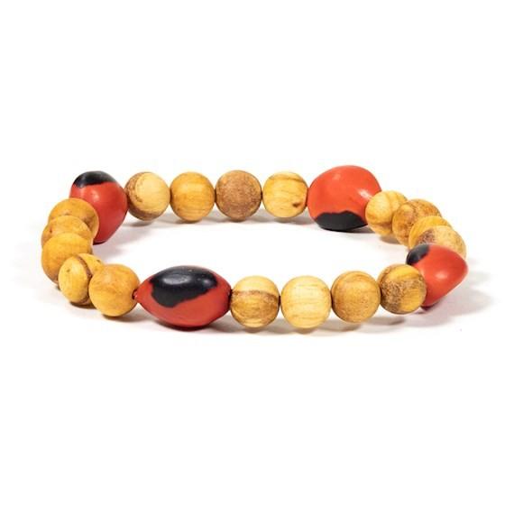 Palo Santo Armband mit 4 Huayruro Perlen elastisch
