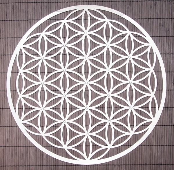 Blume des Lebens 44 cm Wandschmuck aus Edelstahl mit Kristallen