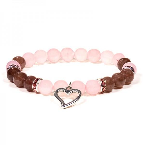 Armband Rosenquarz/Erdbeerquarz mit Herz