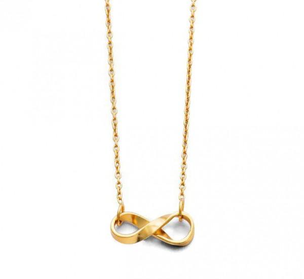 Die liegende Acht als Halskette - vergoldet