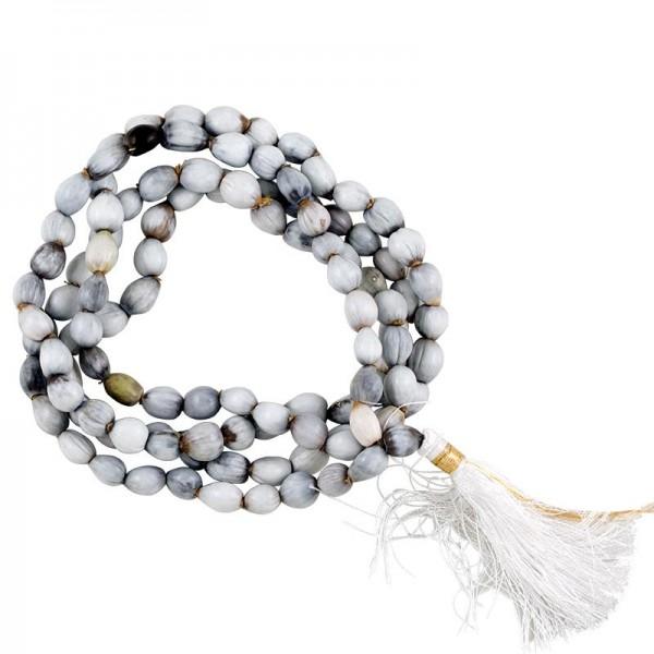 Mala Vaijayantisamen 108 Perlen weiße Quaste + Täschchen
