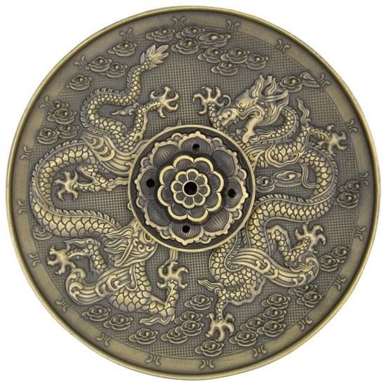 Räucherstäbchenhalter Drachen, bronzefarbig