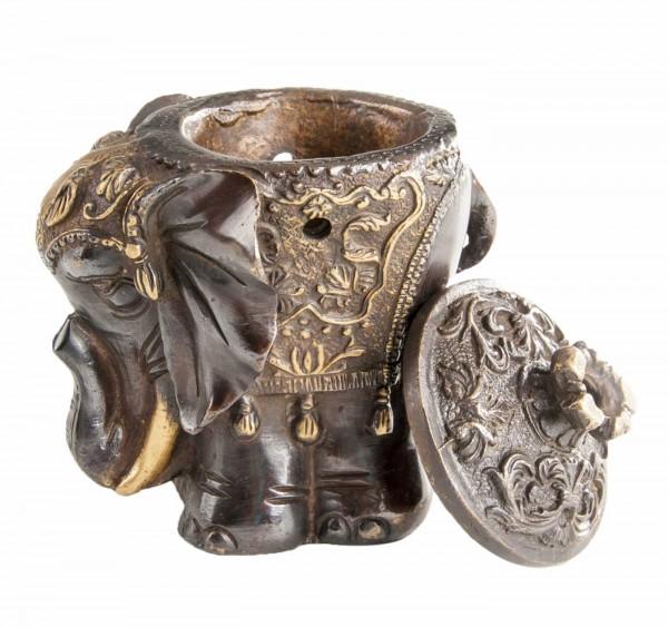 Elefant- Räuchergefäß aus Messing mit offenem Deckel
