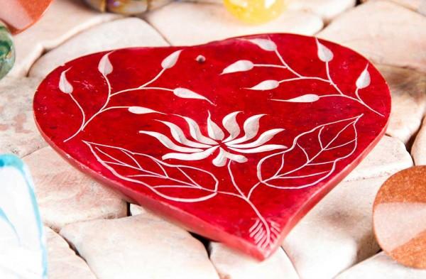 Räucherstäbchenhalter in Herzform - Lotusblüte