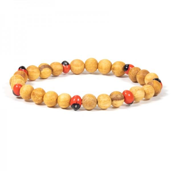 Palo Santo Armband mit Huayruro Perlen elastisch