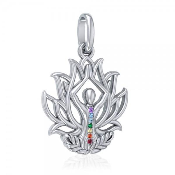 """Yoga Anhänger """"Lotus-Blüte"""" mit Chakrasteinen"""