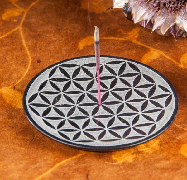 Räucherstäbchenhalter mit der Blume des Lebens aus Speckstein