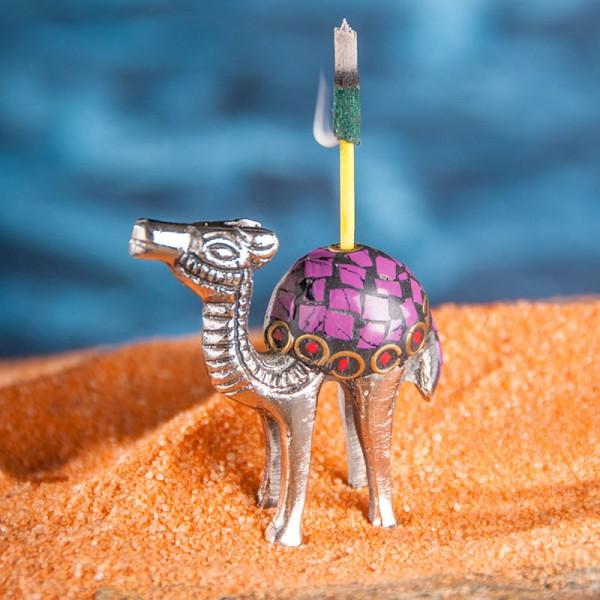 Räucherstäbchenhalter Kamel, versilbert