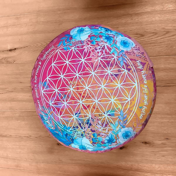 Meditationskissen rund pink/bunt