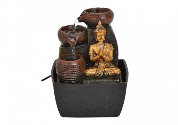Zimmerbrunnen Buddha, Schwarz Gold