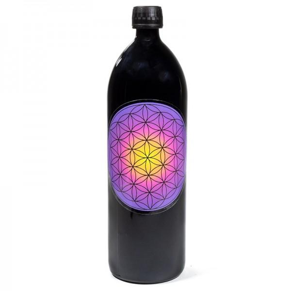 Trinkflasche Miron Violettglass mit der Blume des Lebens violett